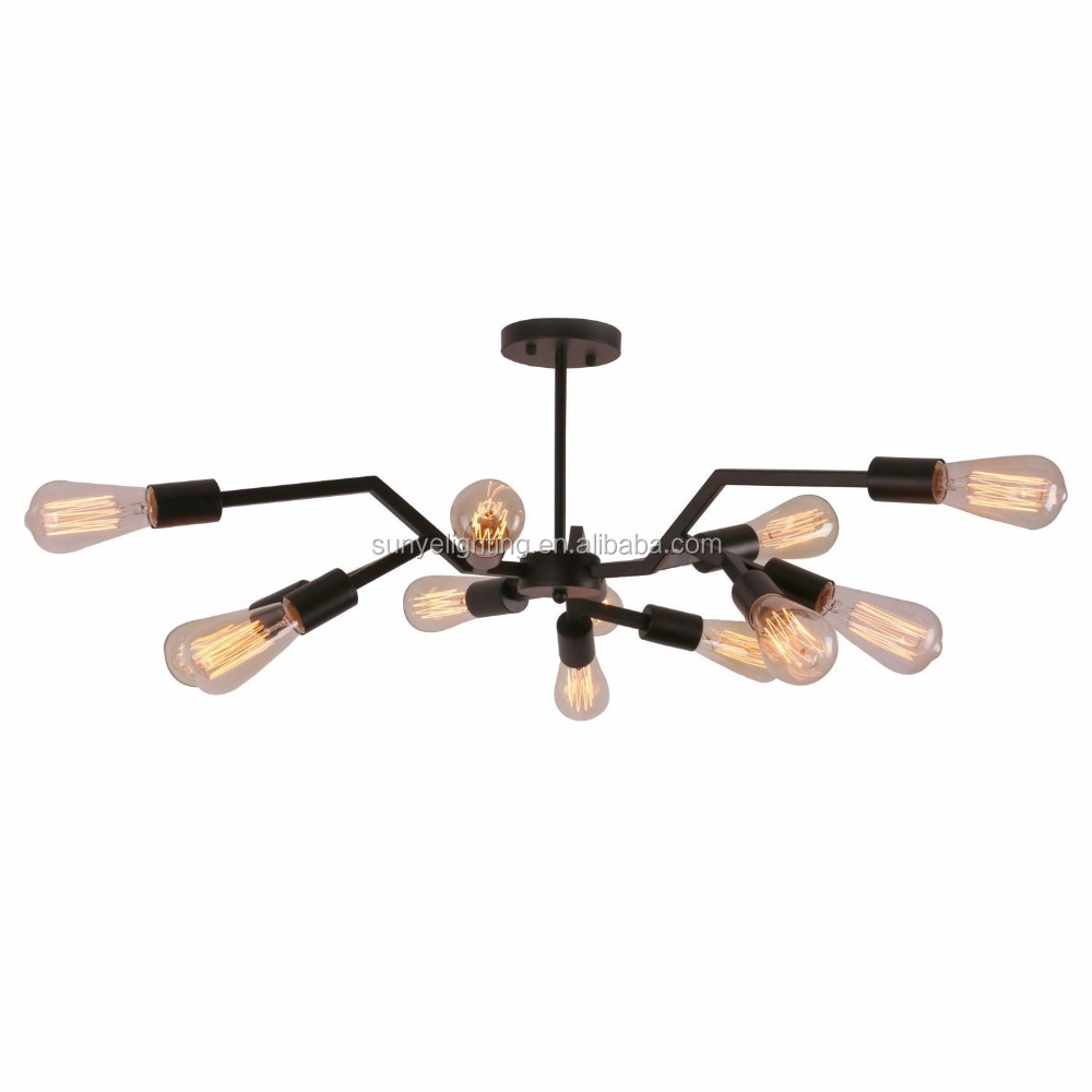 Antique Black Metal vintage Steel light Art Semi Flush Mount Ceiling Light with 12 E26 Bulb Sockets 720W Painted Finish