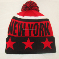 New York City Name Winter Beanie Hats With Pompom With Star Cuffed Sports Caps