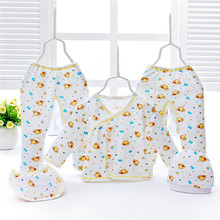 Soft Plain Cotton 5 pcs Newborn Baby Clothes Set
