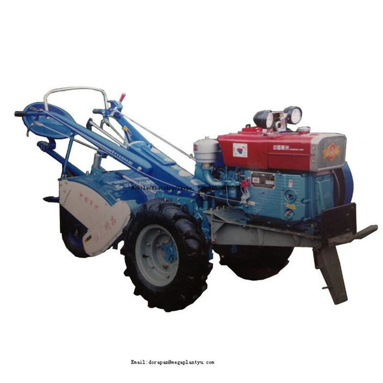 Small trailer two wheel rotary hoe walking tractor with rotary cultivator