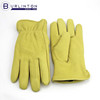 Goat skin leather winter yellow leather gloves with lining