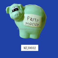 Endearing ceramic green piggy Coin bank with party money