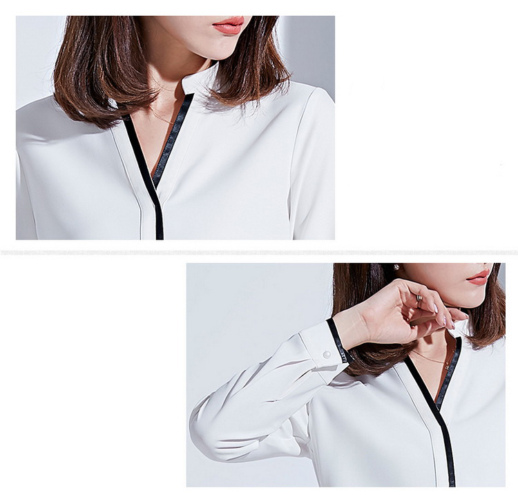 Hot Sale Lady V Neck Long Sleeve Woman Clothing Blouse