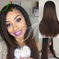 2016 Fashion Brazilian Remy Glueless Full Lace Human Hair Wigs Silky Straight Two Tone 1b/30 Ombre Lace Front Wig With Baby Hair