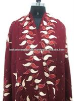 Maroon Embroidered Kashmir Pure Wool Shawl Stole Wrap