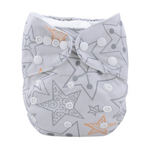 Alvababy positioning shining stars printed customization reusable pocket diaper washable one size baby nappies in China