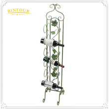 wholesale wrough iron 12 wine bottle rack green wine stand