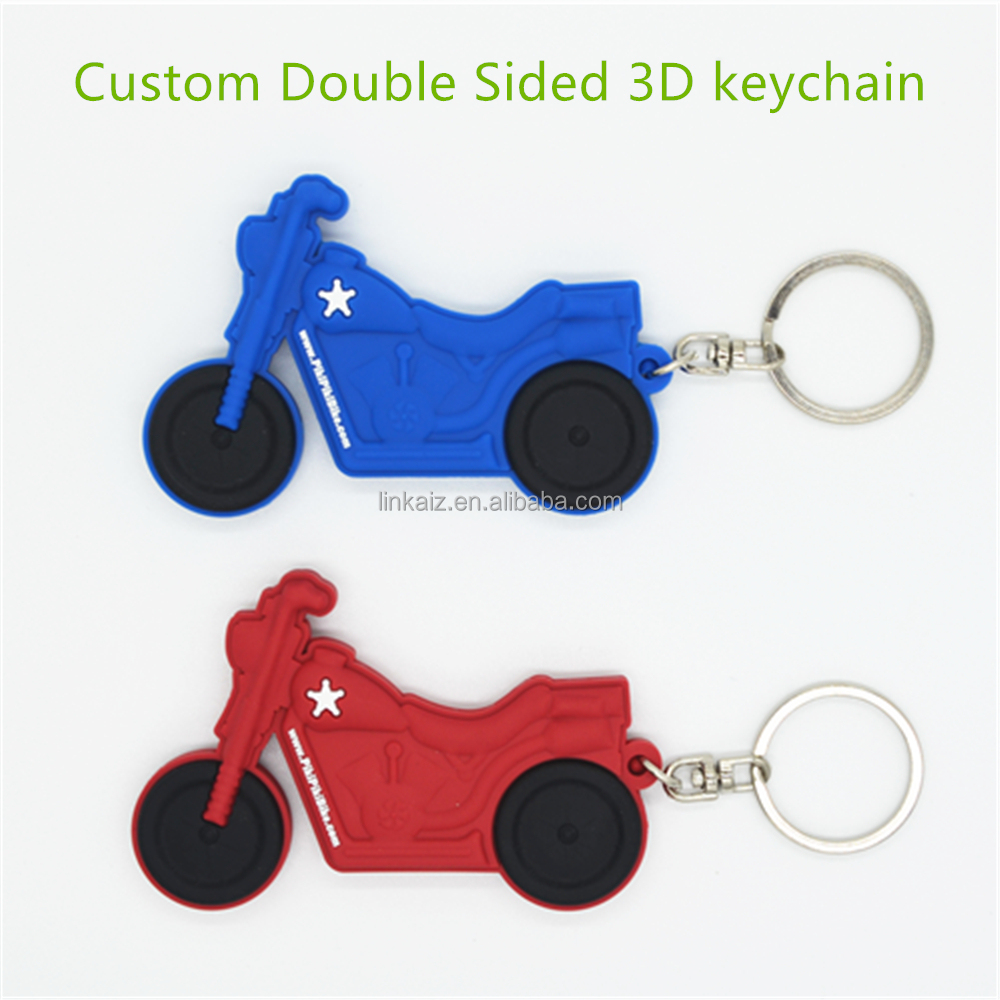 Custom motor bike shaped 3d soft pvc rubber keychain