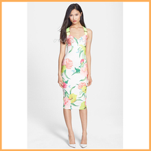 hibiscus blooms patterned bodycon midi dress flower printed crossover straps pencil dress D0101