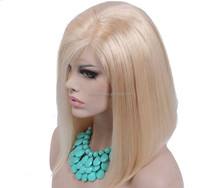 short bob wig virgin full lace human hair wig, blonde color brazilian lace wigs, blonde straight lace front human hair wigs