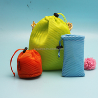 label custom poly mesh knit bag with drawstring manufacture