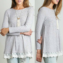 Ladies Woolen Top Grey & White Thermal Stitch Fabric Sheer Lace Bottom Trim Top With 1/2 Placket Lace Trim Back Zip Shirt Design