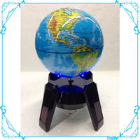 Solar rotating world globe map with led light