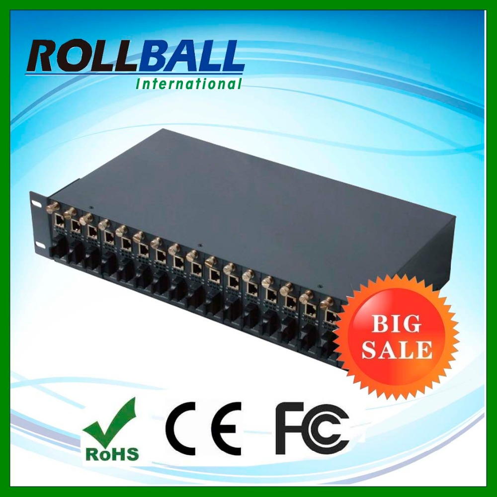 Stand alone 19 inch 2U height single fiber dual mode 2km 16 port media converter chassis