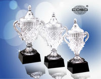 Big Crystal Trophy Cup With Black Base