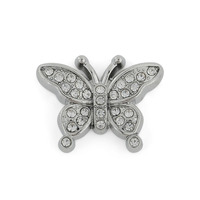 Alibaba Online Wholesale New Design Silver Tone Clear Crystal Butterfly Charm Glue On Dog Tags