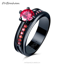 Red cubic zircon Garnet Rings For Women Lady Black Gold Filled Wedding Engagement Love Promise Ring Anel Valentine's Day DR1702
