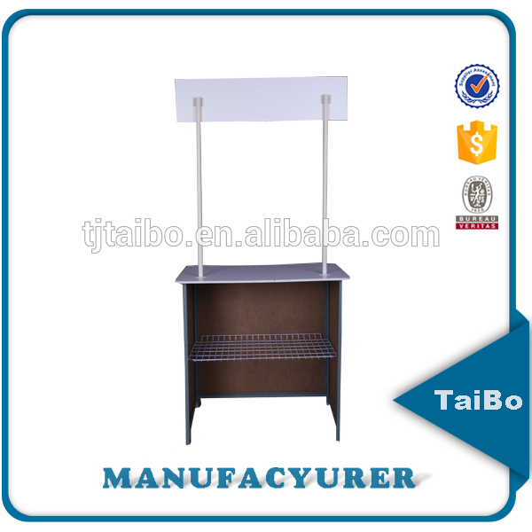 portable exhibition cardboard standing promotion desk