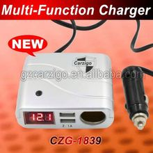 three USB connector base price Rectangle 1 interface 9v cigarette car charger