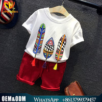 Kids clothing boys casual clothes set summer breathable T-shirt+shorts pants clothing set