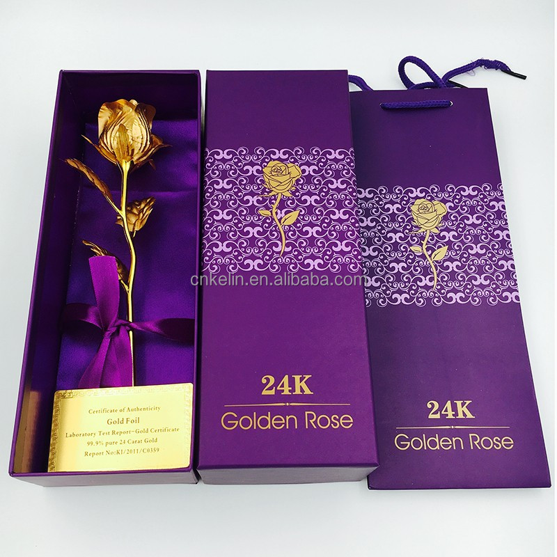The Sweety Wedding Souvenirs 25cm 24K Gold Foil Rose with Nice Gift box and bag