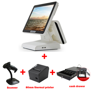POS terminal with 15 inch and 12inch dual screen cash register with 80mm thermal bill printer cash drawer and scanner