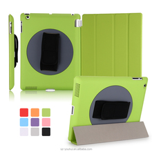 Wholesale Hand Strap Holder 360 Rotating Cover Leather Smart Magnetic Case for iPad 2/3/4