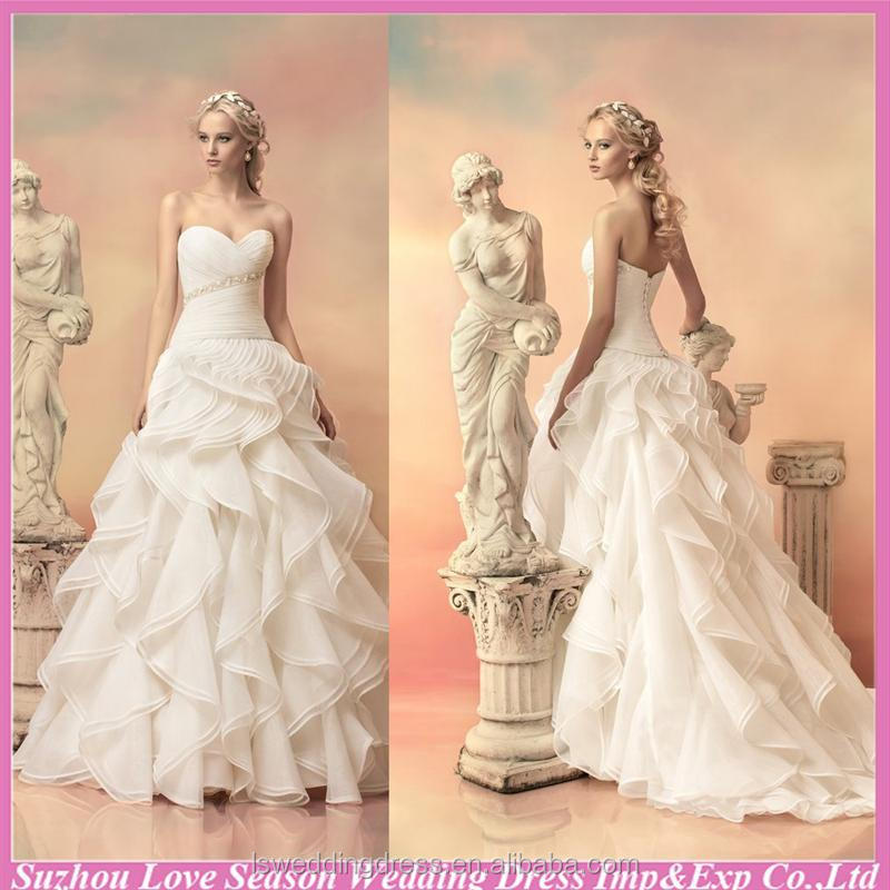 WD5550 dropshipping made in china sweetheart neckline ruffled layers organza lace up popular ball gown ruffles wedding dress