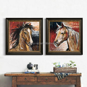 New 2 Pieces Modern horse Wall Art Abstracttree with Acrylic glass frame for living room art