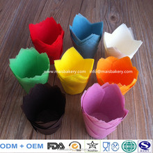 High Quality FAD food grade europe greaseproof paper single wall Tulip baking cups