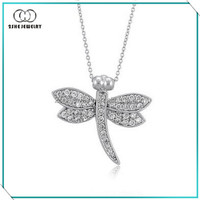 Popular items white gold plated 925 solid silver dragonfly pendant necklace