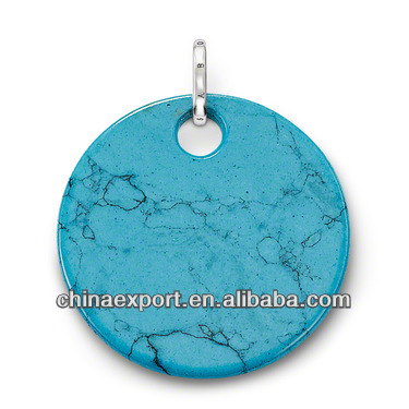 Copper and imit Turquoise plating the large Round disc Pendant for charms