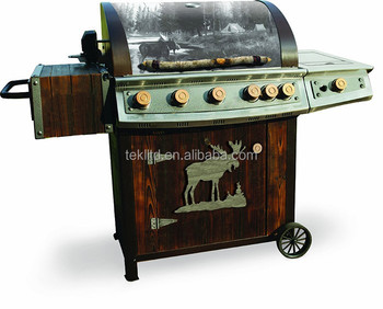 Cast Iron 7-Burner BBQ Propane Gas Grills with Vintage Wagon-Style Rubber Alloy Clad Wheels for Outdoor Kitchen Equipment