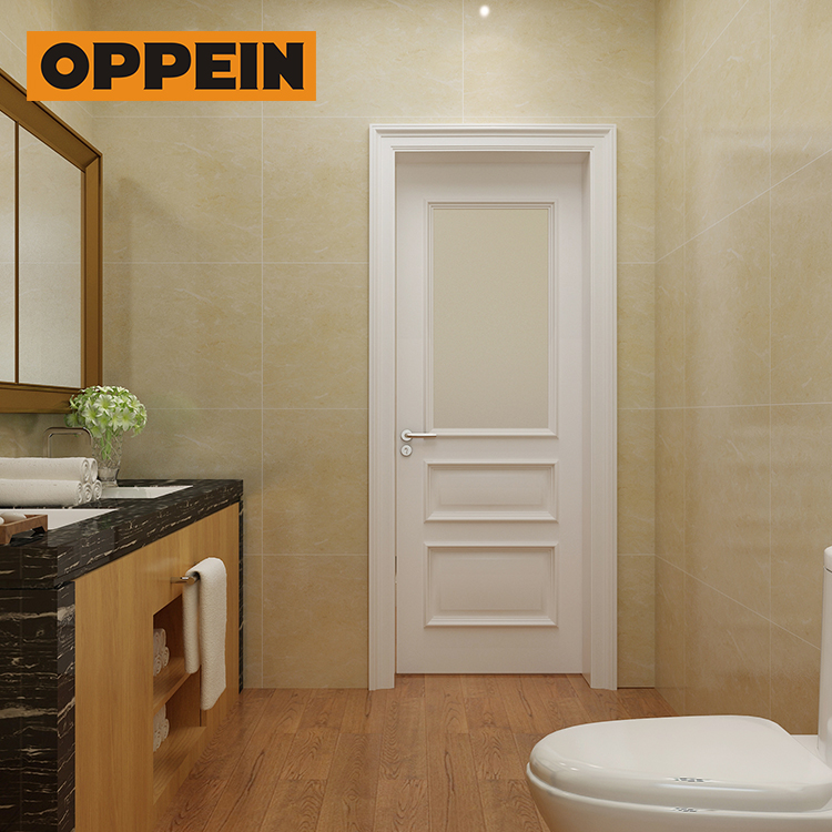 Oppein low MOQ shower room wooden wardrobe door polish designs