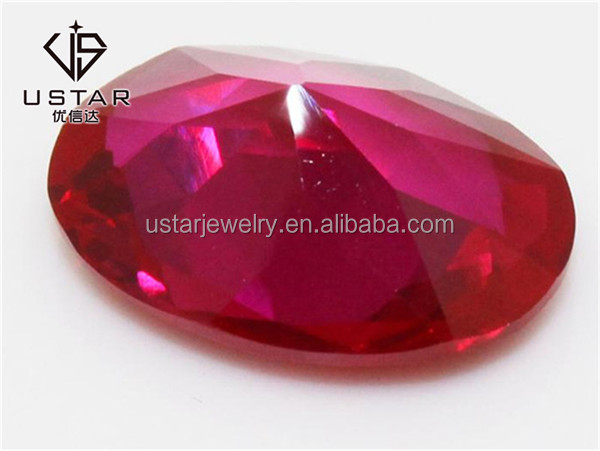 Oval Cut Rose Red Synthetic Corundum Rough for Fashion Jewelry
