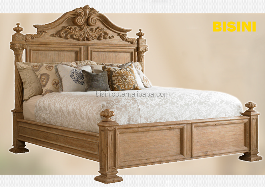 French Provincial Elegant Wooden Bedroom Furniture/ European Antique Hand Carved King Size Wedding Solid Wood Bed