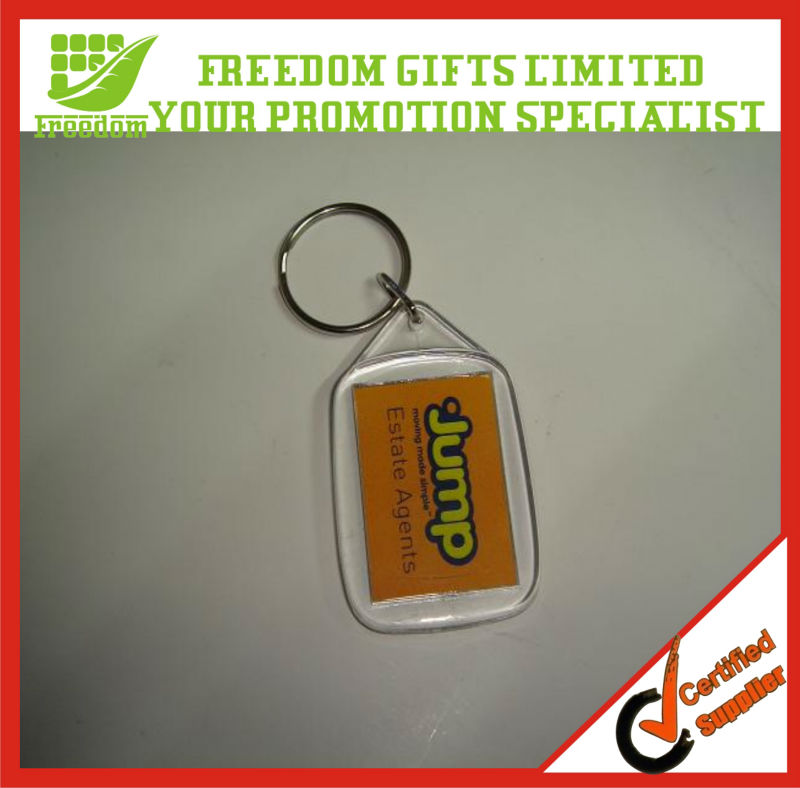 Give Away Gift Clear Acrylic Paper Insert keychain