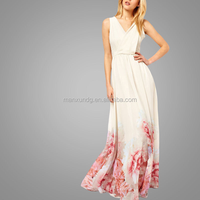 2017 New Fashion Casual Dress Women's V Neck Sleeveless Floral Printed Maxi Bohemian Dress