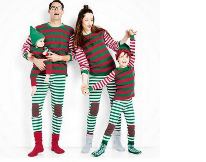 Christmas Family Pajamas Set Santa Adult Kids Women Sleepwear Nightwear Cosplay 2017 long sleeve home wear