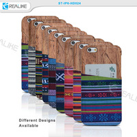 HARD COVER FOR APPLE IPHONE 6 FABRIC CASE BACK CARD SLOTS SHELL BUMPER