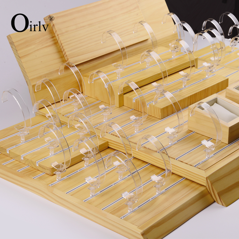 Oirlv Wholesale Commercial Usage Jewelry Bangle Displays Set with Clear Acrylic C Clip Original Solid Wood Watch Display