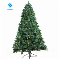 2016 new 6ft artificial christmas tree PE&PVC leaves 837 tips with ornaments for christmas decoration