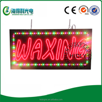 Wholesale price WAXING in red lamp light color acrylic surface window hanging on for advertising led open sign