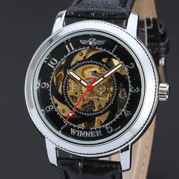 Wholesale Import Watch China Supplier Men Gold Luxury Brand Automatic Skeleton Wrist Watches D94