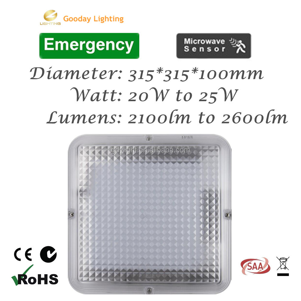 High efficiency 110lm/w 12w square led ceiling light factory price self-testing led emergency light 3 hours emergency duration