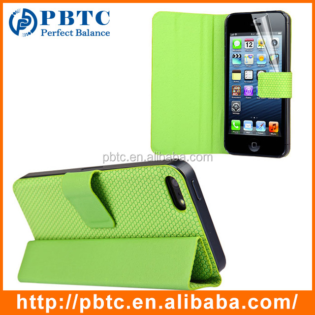 Wholesale Custom Leather Slim Cell Phone Flip Case For iPhone 5 / 5S , Smart Phone PU Leather Mobile Flip Cover