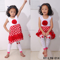 Tank sleeveless red printed children boutique clothing frocks cotton girl dresses with rose flower