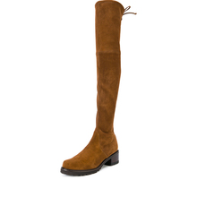 brown thigh high leather boots women leather flat over knee high suede boots