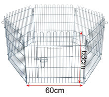 Metal Pet Play Pen Dog Puppy Rabbit Run Cage Metal Fence 6 Panels, 60x63cm