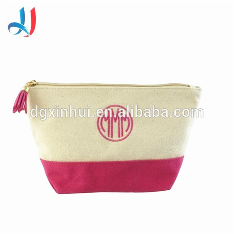 Hot selling New Products travel canvas ladies cosmetic bag women makeup case